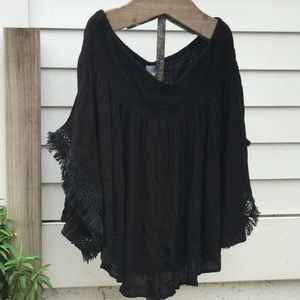 Mudpie Black Off the Shoulder M Blouse
